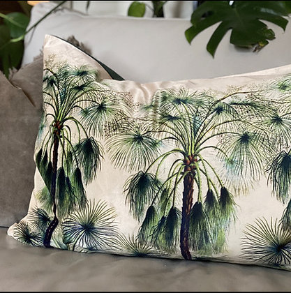 Velvet cushions with Green Palm design by This Wild House