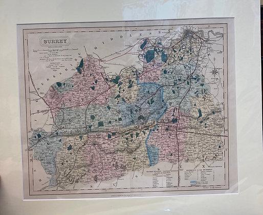J C Walker County Map Of Surrey
