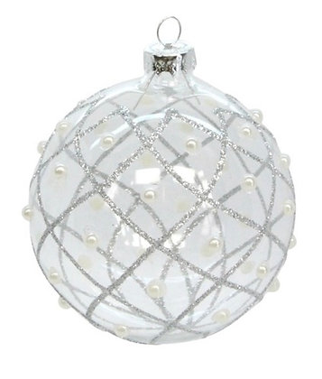 Clear and Silver Trellis and Pearl Bauble Christmas Decoration