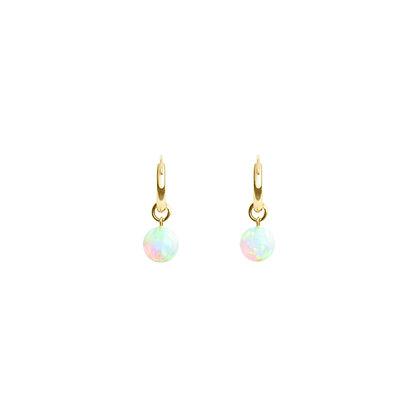 Sea Opal Hoop Earring in Gold Filled or Sterling Silver