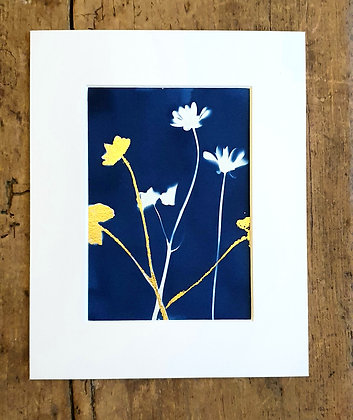 Buttercup and Gold Leaf Print by She Makes