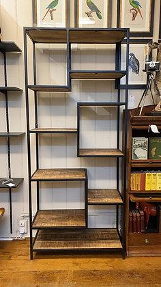 Large wood and Black Frame shelving unit