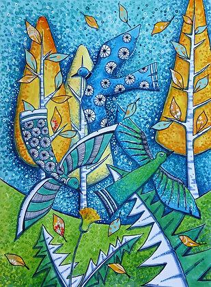 Three Birds A4 Limited Edition Print by Judit Matthews