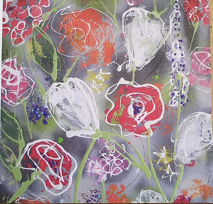 Abstract Flowers Card by Julia Adams