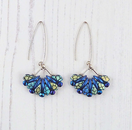 Long Blue Beaded Fan Earrings by Beau Bella Jewellery