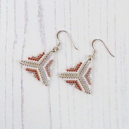 Patterned Silver & Copper Triangle Earrings by Beau Bella Jewellery