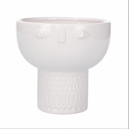 White Face Decorative Bowl Vase