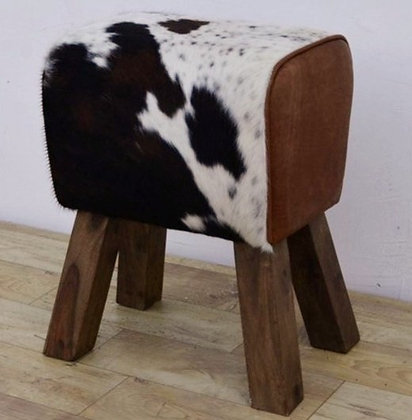 Cowhide Footstool - Hair-On-Leather