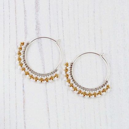 Gold & Silver Beaded Hoop Earrings by Beau Bella Jewellery