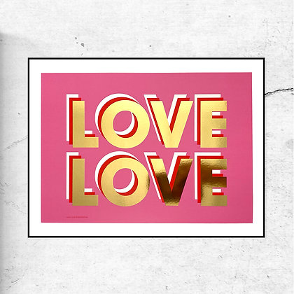 """""""LOVE LOVE"""" Gold foil special edition art print by Doodlemoo"""