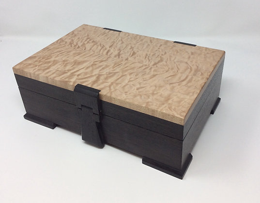 Bog oak & Quilted Maple Box by Andrew Poder