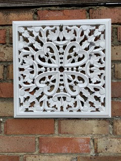 White mango wood hand carved panel from Homebee
