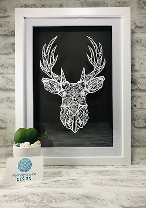 Framed Stag Head Papercut by Newbery-Grayson Design