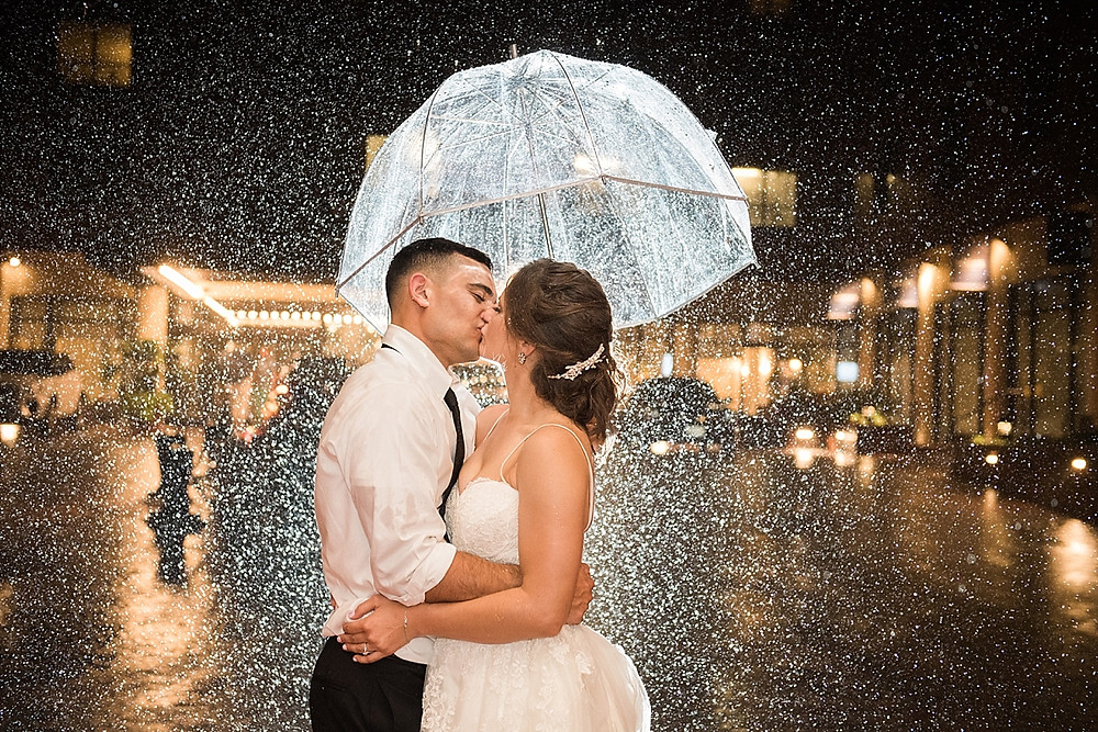 rainy day wedding photo bride and groom
