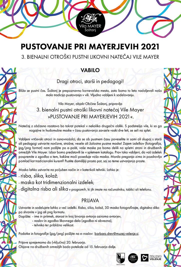 Pustovanje pri Mayerjevih 2021, vabilo.j