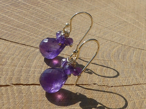 Amethyst Drop Earrings topped with Amethysts