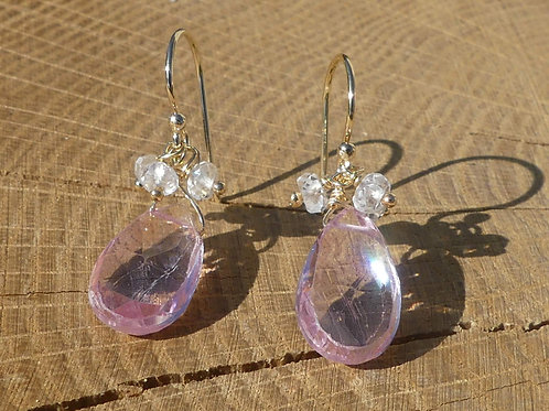 Pink Topaz Earrings topped with White Topaz