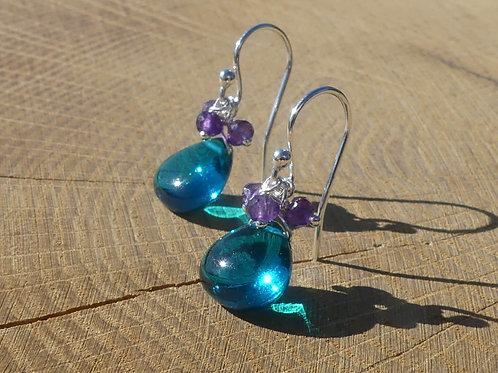Teal Quartz Earrings topped with Amethysts and White Topaz