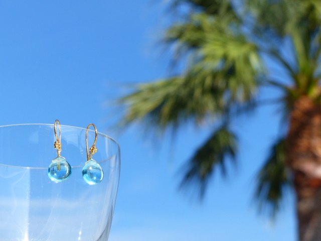 Aqua Blue Quartz Earrings
