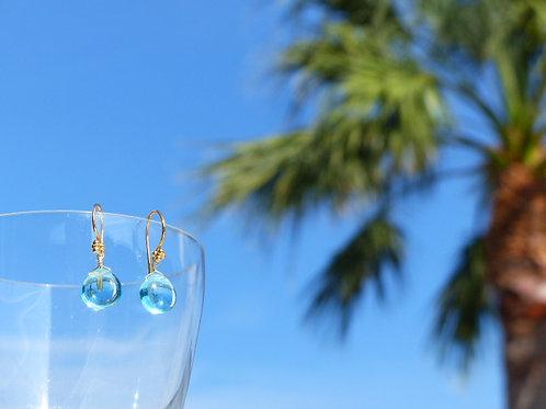 Aqua Blue Quartz Earrings on Vermeil Earwires