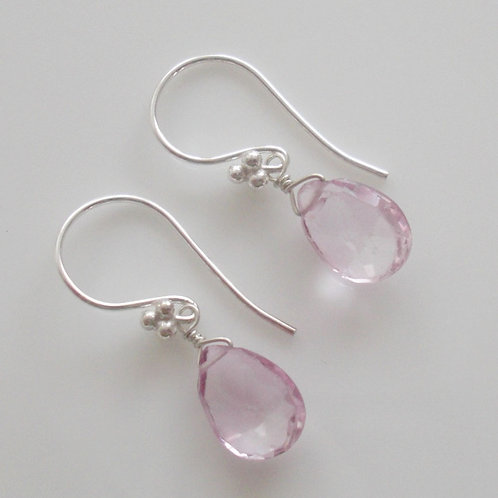 Beautiful Natural Pink Topaz & Sterling Silver Earrings