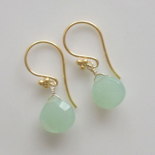 Beautiful Aqua Green Chalcedony & Vermeil Earrings