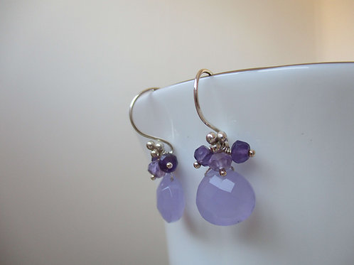 Beautiful Lilac Chalcedony Earrings with Amethysts