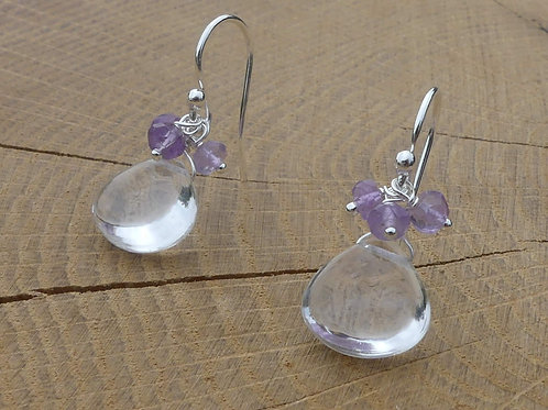 Smooth Rock Crystal Earrings topped with Pink Amethysts
