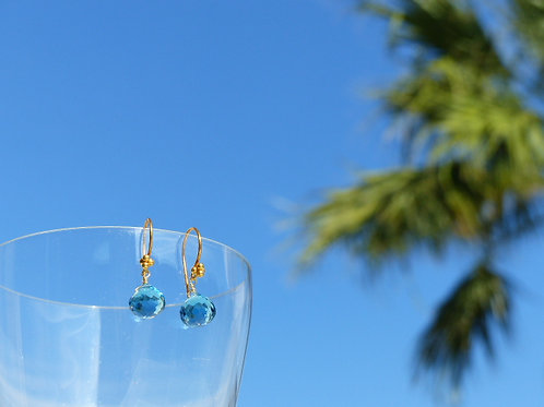 London Blue Quartz Earrings on Vermeil Earwires
