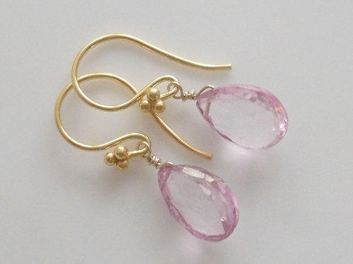 Beautiful Natural Pink Topaz & Vermeil Earrings