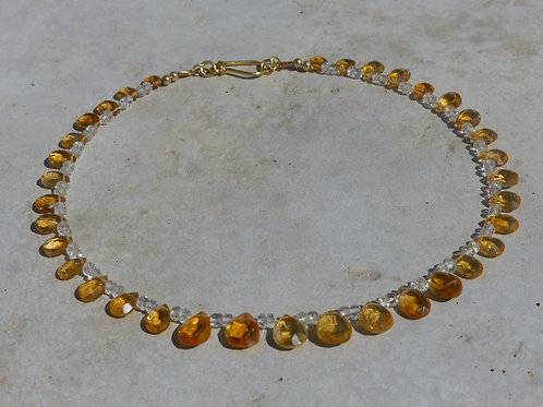 Fabulous Citrine and White Topaz Necklace