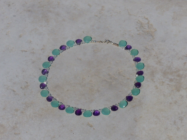 Aqua Blue Chalcedony + Amethyst Necklace