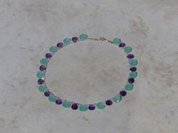 Aqua Blue Chalcedony Heart + Amethyst Heart Necklace - top + side
