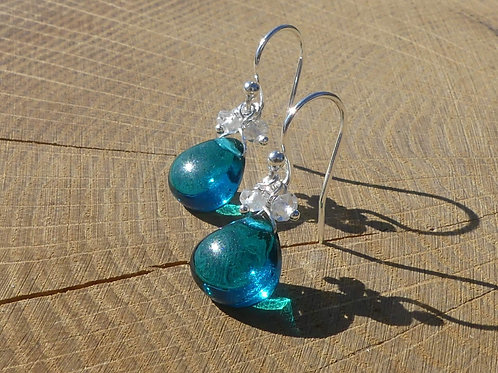 Teal Quartz Earrings topped with White Topaz