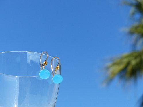 Aqua Blue Chalcedony Earrings on Vermeil Earwires