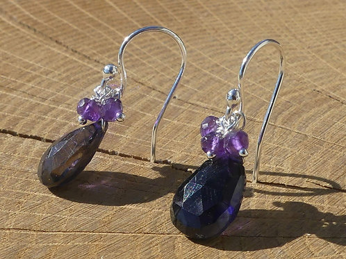 Iolite Earrings topped with Amethysts & White Topaz