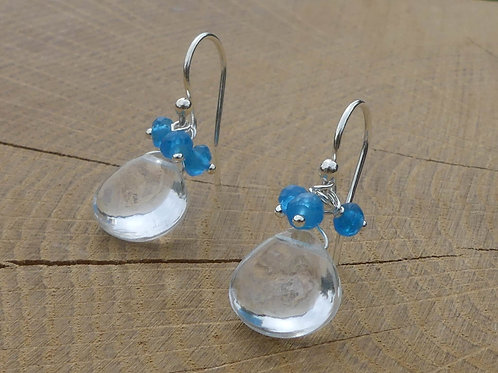 Smooth Rock Crystal Earrings topped with Blue Apatite