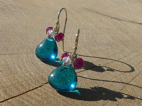 Teal Quartz Earrings with White Topaz & Rubellite