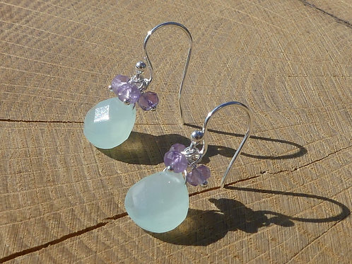 Aqua Blue Chalcedony Earrings topped with Pink Amethyst