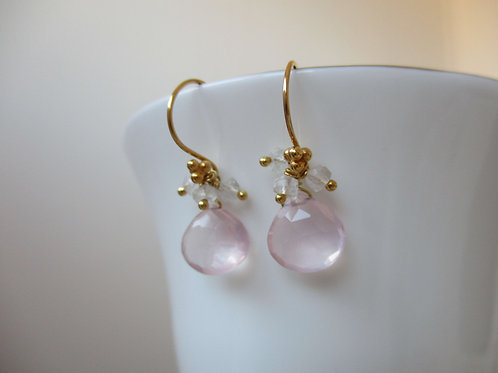 Beautiful Rose Quartz with Green Amethyst Earrings