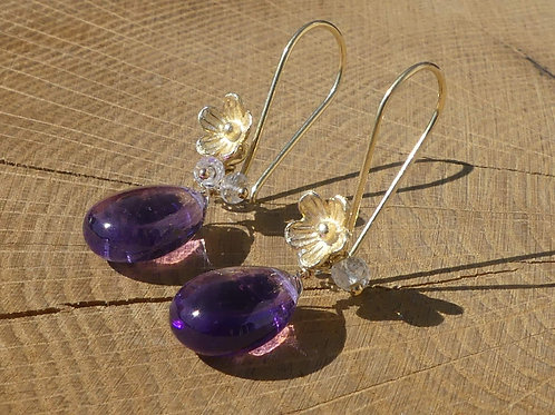 Smooth Amethyst Flower Earrings with White Topaz