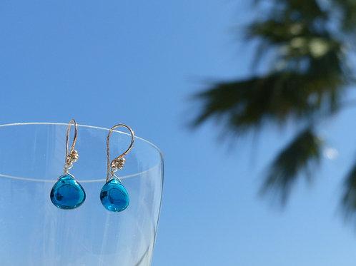 Teal Quartz Earrings on Vermeil Earwires