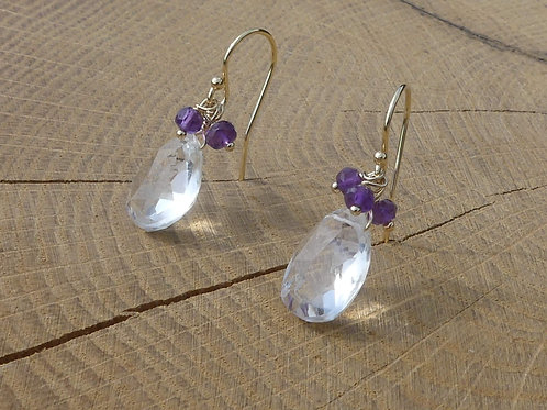 Faceted Rock Crystal Earrings topped with Amethysts