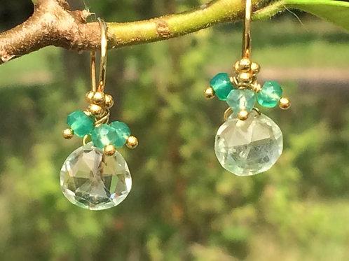 Beautiful Green Amethyst Earrings with Green Onyx