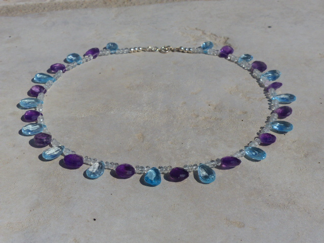 Blue Topaz + Amethyst Necklace