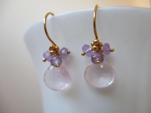 Beautiful Rose Quartz with Pink Amethyst Earrings