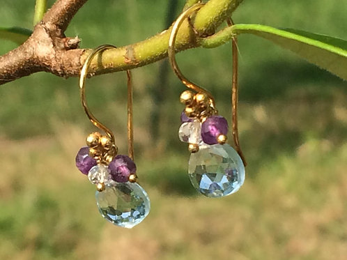 Beautiful Blue Topaz, Amethyst, White Topaz and Vermeil Earrings