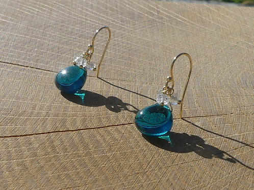 Teal Quartz Earrings with White Topaz