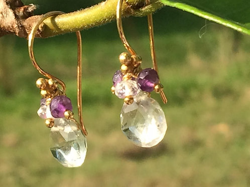 Beautiful Green Amethyst Earrings with Amethysts and White Topaz