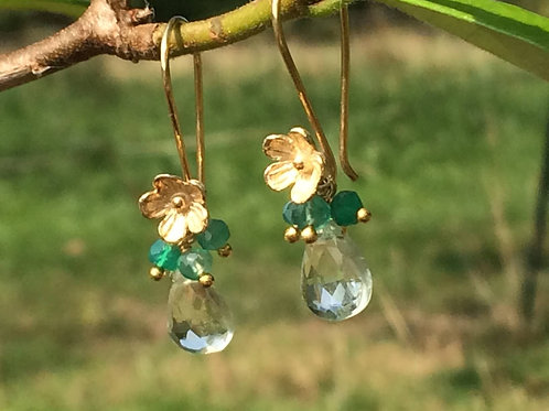 Delicate Green Amethyst and Green Onyx Earrings